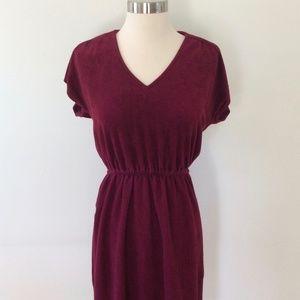 Vintage Burgundy Velour Dress